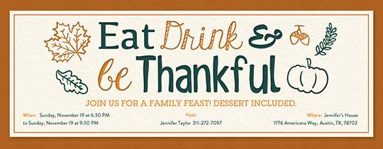 Invitations Free eCards and Party Planning Ideas from Evite – Thanksgiving Party Invitation Wording